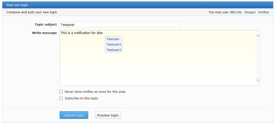 User Notification - Уведомления об упоминании пользователя